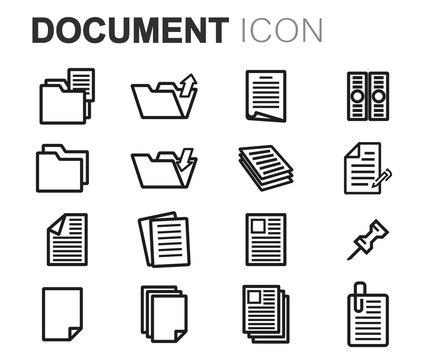 Vector black line document icons set