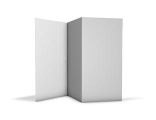Trifold brochure pamphlet mock up standing on floor.