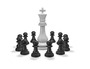 Teamwork concept 3D illustration with chess king and pawns isolated.
