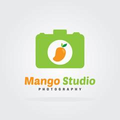 Mango Logo Flat Design with camera icon. Fruit Vector illustration.