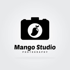 Mango Logo Flat Design with camera icon. Fruit Vector illustration.