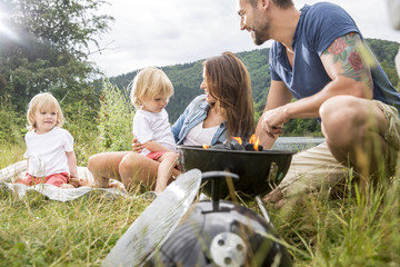 Family having barbecue on a meadow