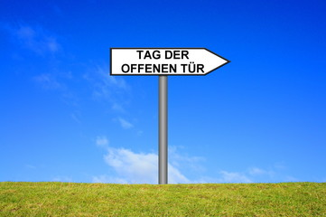 Tag der offenen tür schild  Photos, illustrations et vidéos de