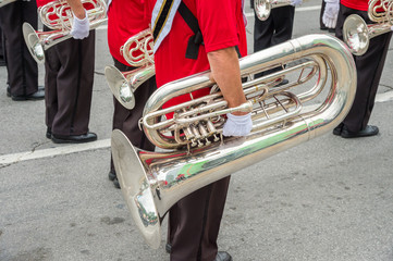 Fanfare in Montreal, close-up of an euphonium.