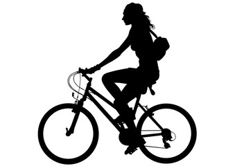 Wall Mural - Sport woman whit bike on white background
