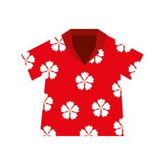 shirt hawaiian flowers red vector illustration eps 10