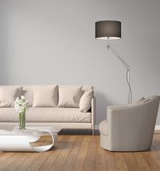 Contemporary modern grey interior with wood floor