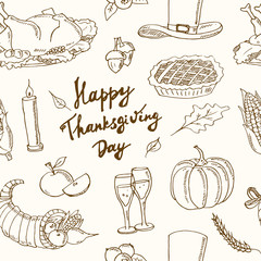 Happy Thanksgiving Day. Hand Drawn Holiday Design seamless pattern