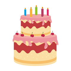 birthday cake dessert candles cherry isolated vector illustration eps 10