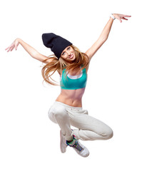 Hip hop dancer jumping high in the air isolated on white
