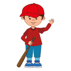 boy cartoon baseball bat isolated vector illustration eps 10