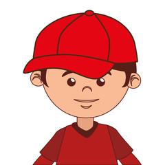 boy cartoon baseball bat isolated vector illustration eps 10
