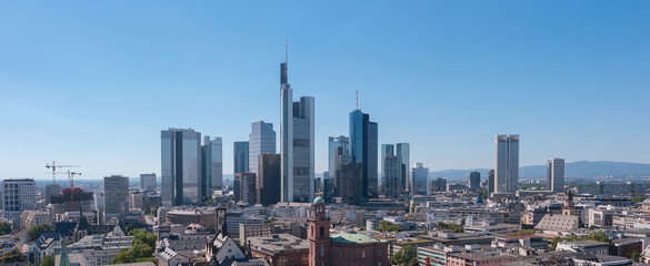 Financial district in Frankfurt panorama