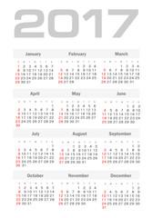 Vector Simple 2017 year calendar