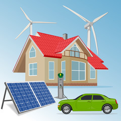 house with renewable energy sources, vector illustration