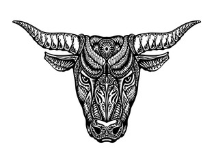 Ethnic ornamented bull, ox or minotaur, taurus. Vector illustration