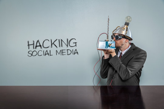 Hacking social media text with vintage businessman