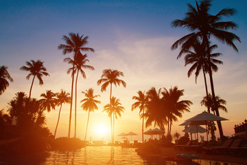 summer holidays, paradise tropical beach background, luxurious hotel at sunset