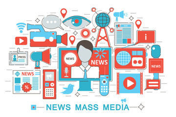 Abstract bright colorful multimedia mass media concept TV online