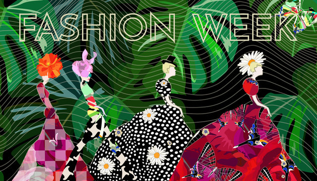 Abstract sketch girl model, dress, suit, floral hat, text Fashion Week, show