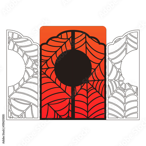 laser cut halloween vector invitation card template spider web lace