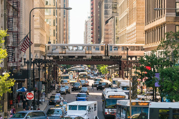 Photo on textile frame United States Traffic in downtown Chicago