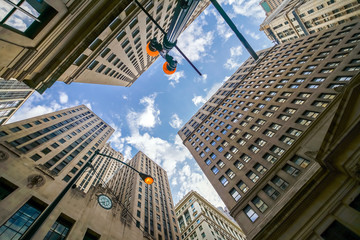 Looking up at Chicago's vintage building in financial districtbu