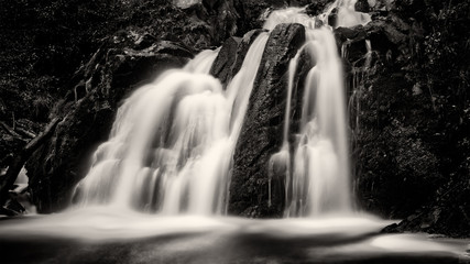 Waterfall, Forsakar Nature Reserve, Skane County, Sweden, black and white
