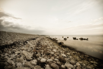 Pebbled beach, Holmudden, Gotland, Faro, Sweden, black and white
