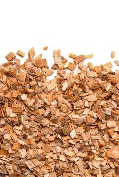 Close up of smoking woodchips