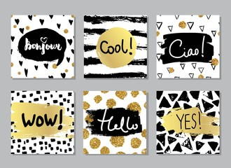 Creative fashion glamour hand drawn calligraphic card set. Vector collection of black, white, gold textured cards. Beautiful posters with geometric shapes. Sign hello in french and italian.