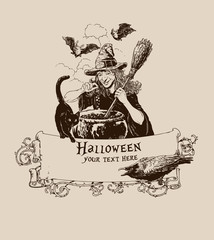 Vintage halloween witch making potion poster banner mail vector illustration
