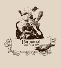 Vintage halloween witch making potion poster banner mail vector illustration