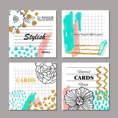 Set of hand drawn creative universal cards, posters, brochures, flyers. Wedding, anniversary, birthday, Valentine's day, party, invitation, business design.