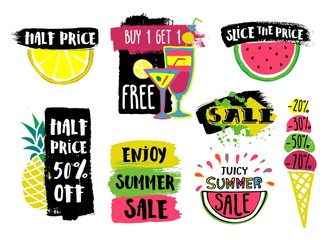 Vector summer sale labels with hand drawn slices of watermelon, lemon, pineapple, ice cream, cocktails. Bright design for discount posters, flyers, cards, banner with lettering.