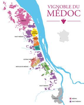 Carte du Vignoble du Médoc
