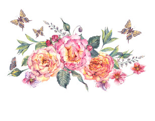 watercolor blooming roses and wildflowers