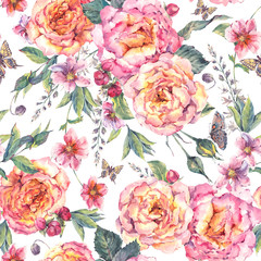 Watercolor foral roses seamless background