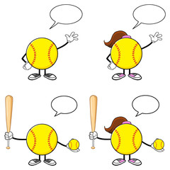 Softball Faceless Player Cartoon Character 2. Collection Set Isolated On White Background