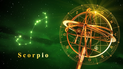 Armillary Sphere And Constellation Scorpio Over Green Background
