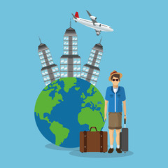 baggage man boy glasses tower airplane planet travel trip airport vacation icon. Colorful and flat design. Vector illustration