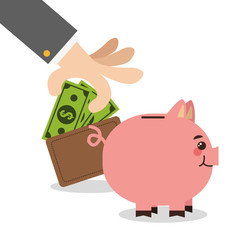 businessman hand piggy money cartoon suit business icon. Colorful and flat design. Vector illustration