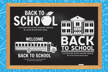 Set of Back to School retro design