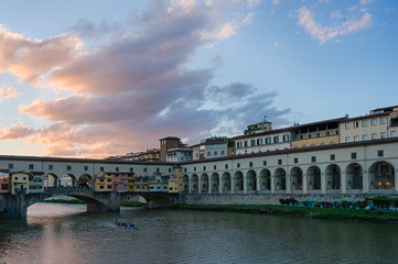Ponte Vecchio and Vasari corridor on Arno river