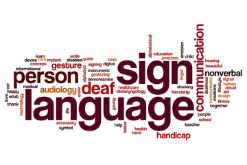 Sign language word cloud