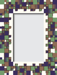 White frame decorated with a mosaic of colored squares vector