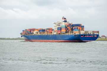 Container ship in the port of Rotterdam, Holland