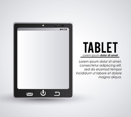 Tablet one black device display gadget technology tool icon. Isolated design. Vector illustration