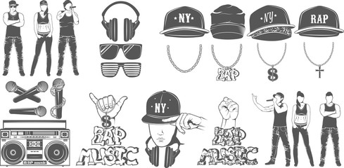 Vector set of logos for rap music style. Logo for t-shirts, musi