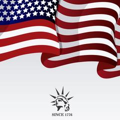 statue of liberty usa flag landmark patriotic united states of america icon. Colorful design. Vector illustration